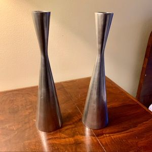 Set of Mid Century Stainless Steel Candle Holders